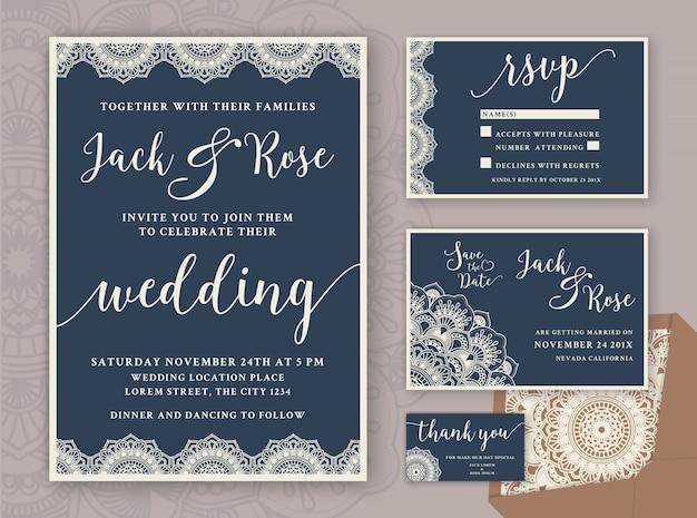 Rustic Wedding Invitationデザインテンプレート。 RSVPカード、日付カード、タグありがとうございます。ヴィンテージラウンドマンダラオーナメント 無料ベクター