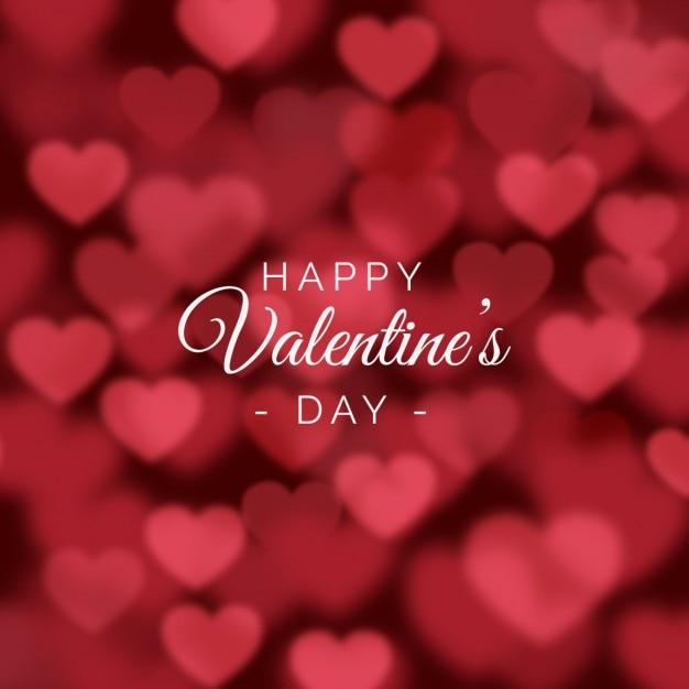 ぼやけ心とバレンタインの日の背景 無料ベクター