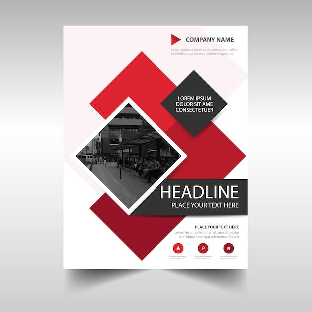 赤い創造的な年次報告書の表紙のテンプレート 無料ベクター