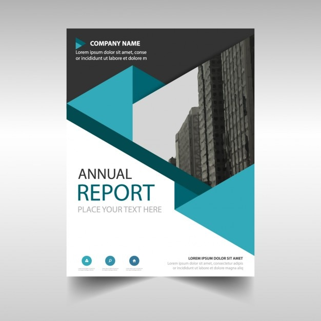 blue polygonal annual report cover template ベクター画像 無料