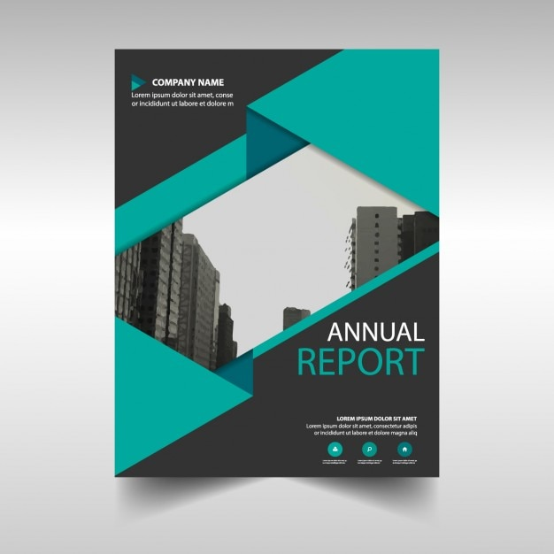 Green and black annual report cover template 無料ベクター