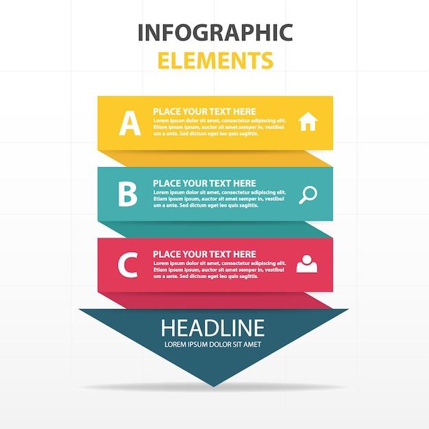 カラフルな抽象的な三角形ビジネスインフォグラフィックテンプレート 無料ベクター