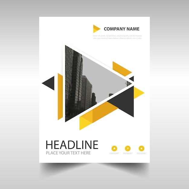 黄色の創造的な年次報告書のブックカバーテンプレート 無料ベクター