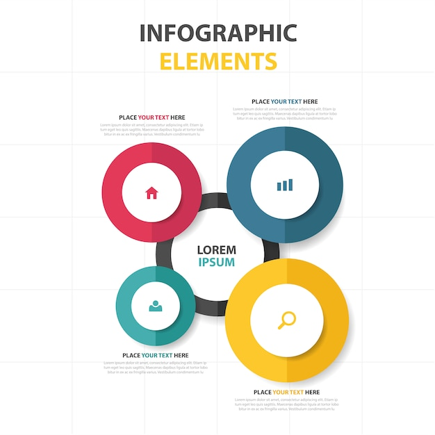 カラフルな抽象的なサークルビジネスインフォグラフィックテンプレート 無料ベクター