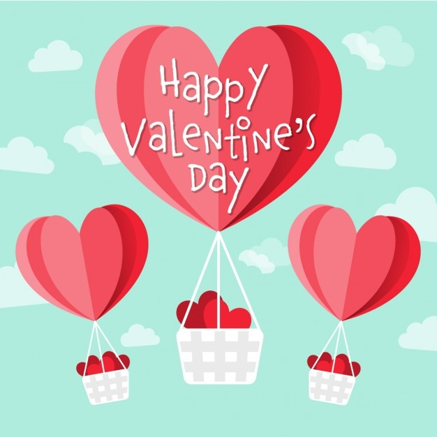 バレンタイン用のハート形の熱気球 無料ベクター