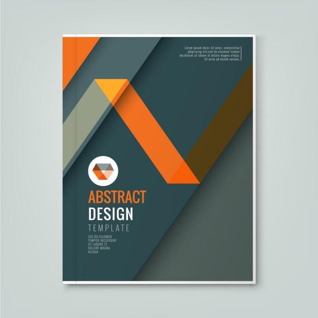 ビジネス年次報告書表紙のパンフレットチラシ・ポスター用の濃いグレーの背景テンプレート上の抽象的なオレンジ色のライン設計 無料ベクター