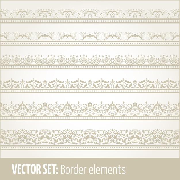 Векторный набор элементов границы и элементов оформления страницы. Пограничные элементы орнаментов. Векторные иллюстрации. Бесплатные векторы