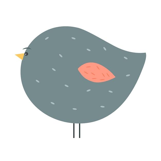 白い翼の愛らしいふわふわの灰色の鳥のイラスト。 無料ベクター