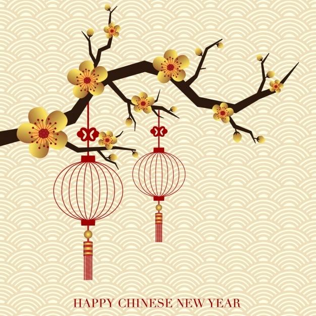 赤いオンドリを持つ中国の新年の背景 無料ベクター