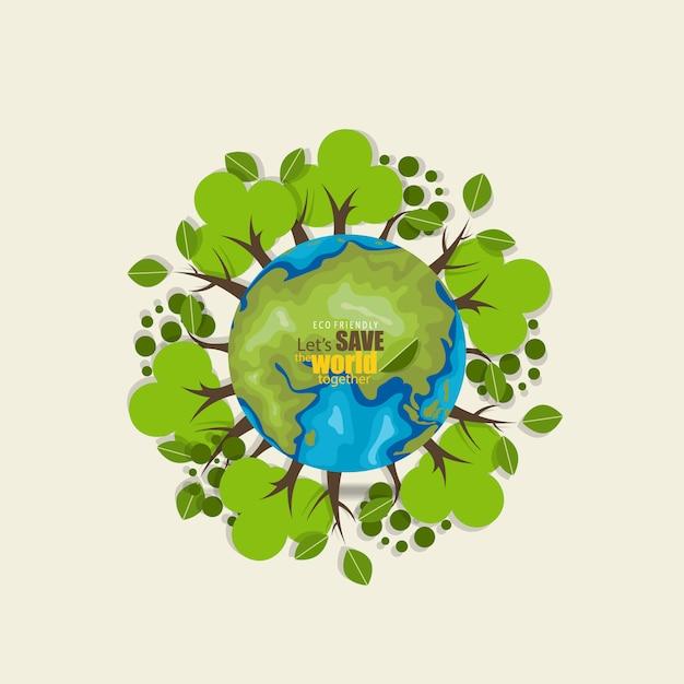 木で世界の背景を保存 無料ベクター