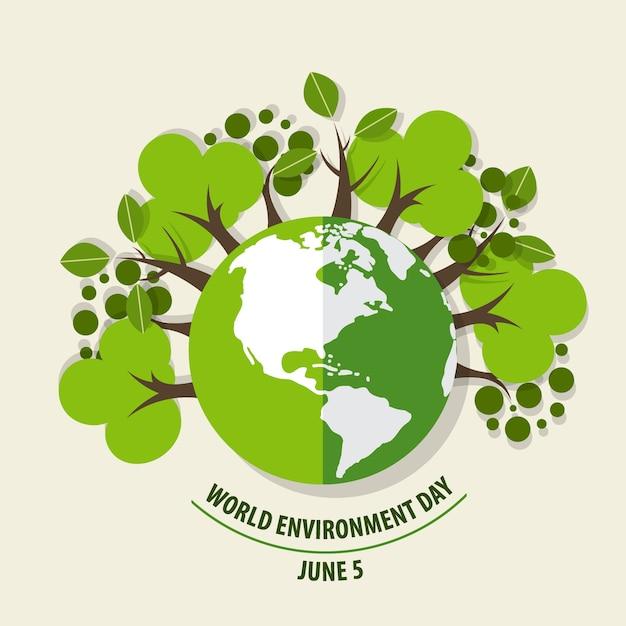 世界環境デーのコンセプト。グリーンエコアース。ベクトル図。 無料ベクター