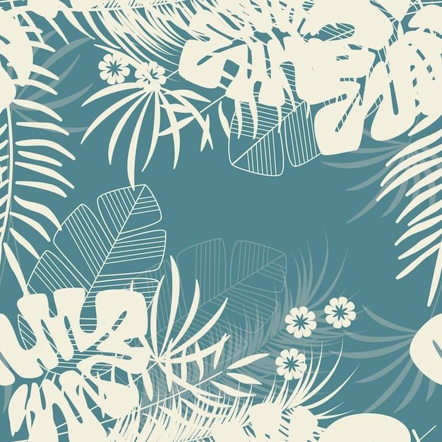 Летний бесшовный тропический узор с листьями пальмы монстры и растения на синем фоне Premium векторы