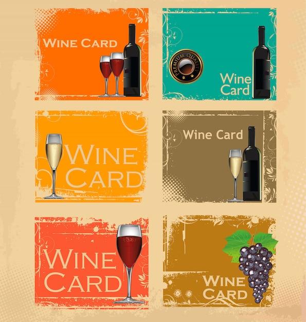 ワインカードのベクトル図 Premiumベクター