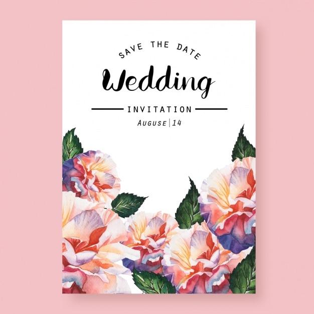 水彩結婚式の招待状 無料ベクター