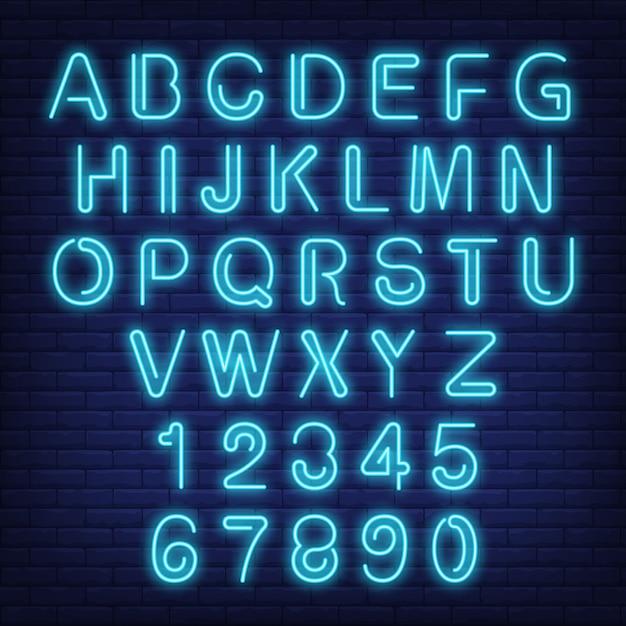 英語のアルファベットと数字。青い手紙のネオンサイン。 無料ベクター