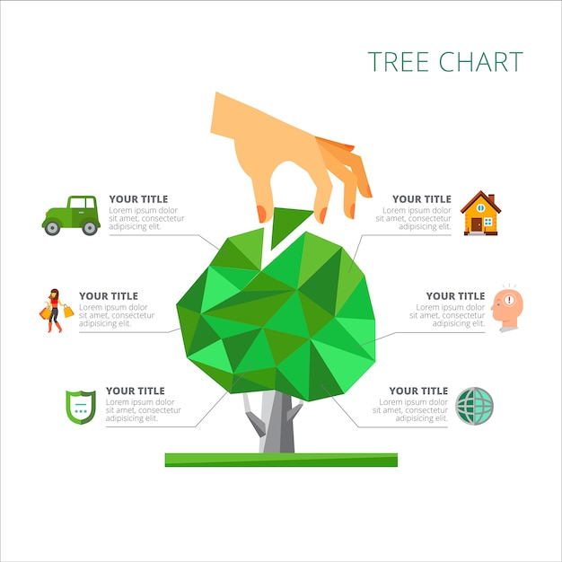 6つのオプションを持つツリーチャートスライドテンプレート ベクター画像