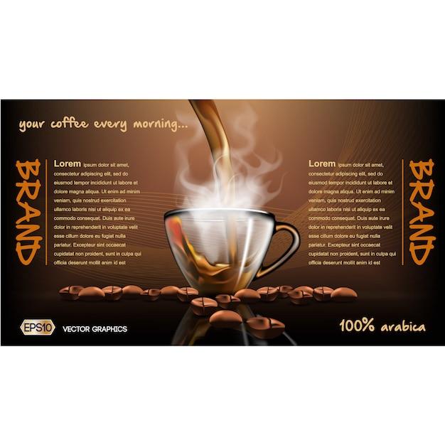コーヒーパンフレットテンプレート 無料ベクター