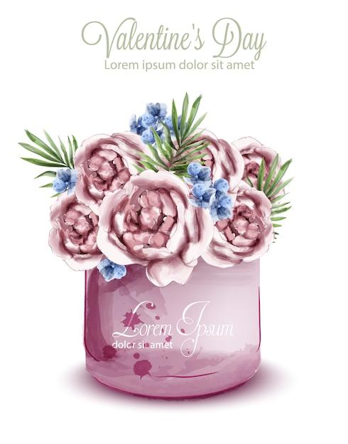 繊細な花束のバラの水彩画 Premiumベクター