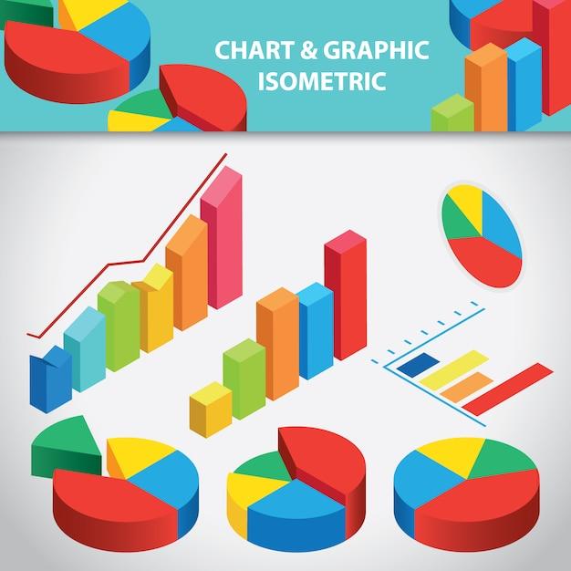 グラフとグラフィックの等尺性コレクション 無料ベクター