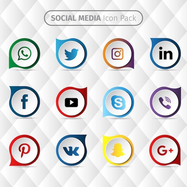 Социальные медиа дизайн иконок Бесплатные векторы