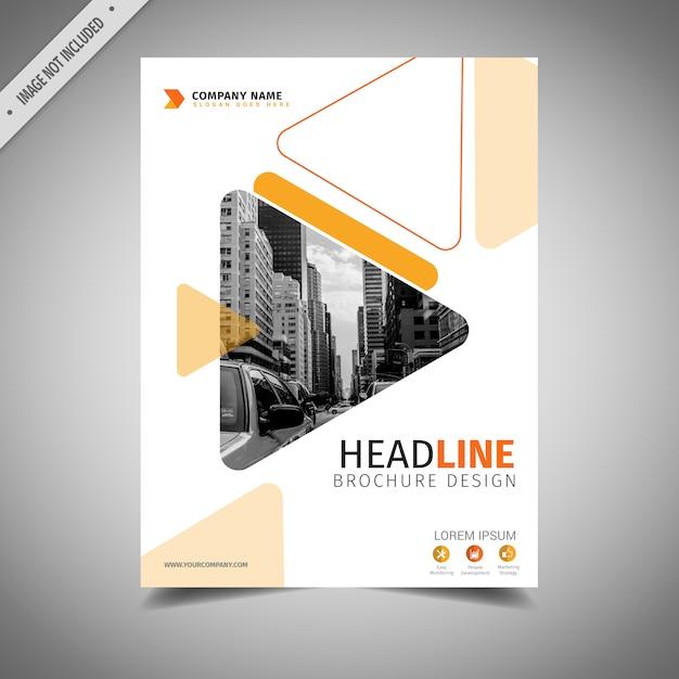 オレンジと白のビジネスパンフレットデザイン 無料ベクター