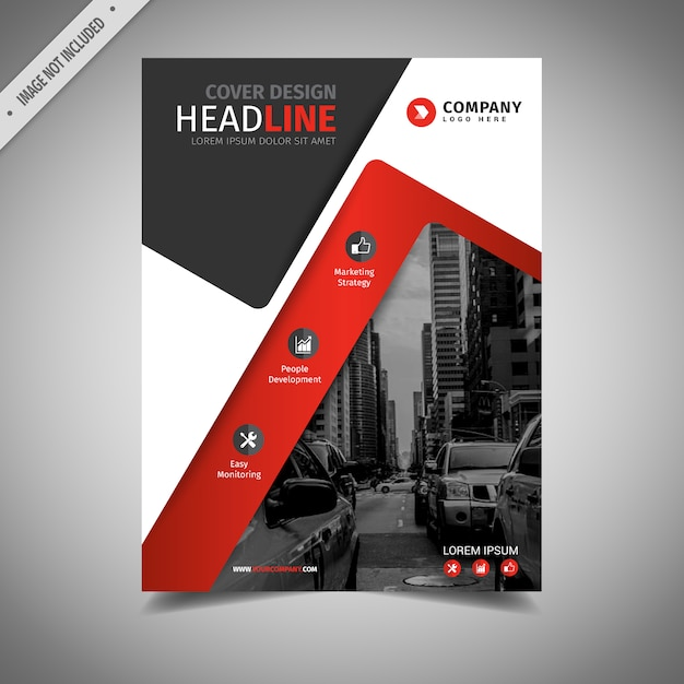 黒と赤のビジネスパンフレットデザイン 無料ベクター
