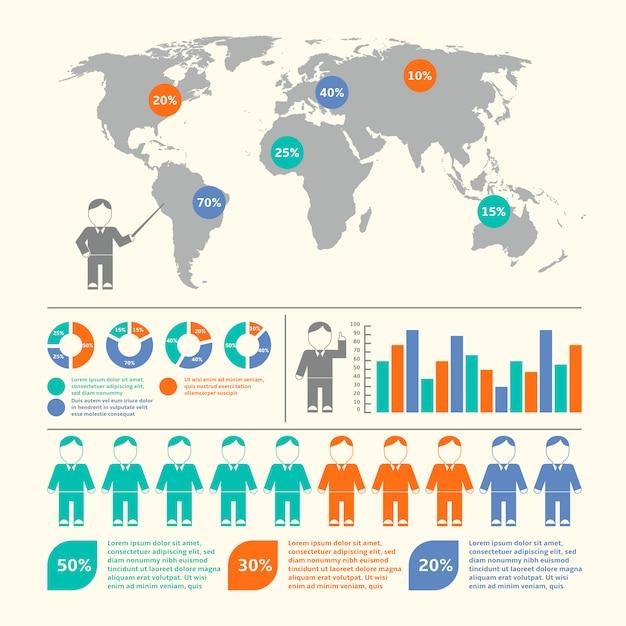 人々は人口統計学的な地図とベクトルのイラストセットベクトル図 無料ベクター