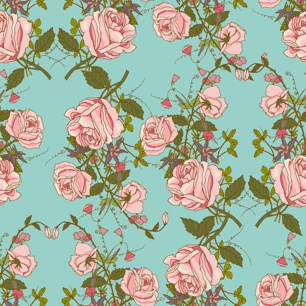 Урожай ностальгический красивых роз гроздья композиции романтический цветочный свадебный подарок оберточная бумага бесшовные шаблон цвет векторной иллюстрации Бесплатные векторы