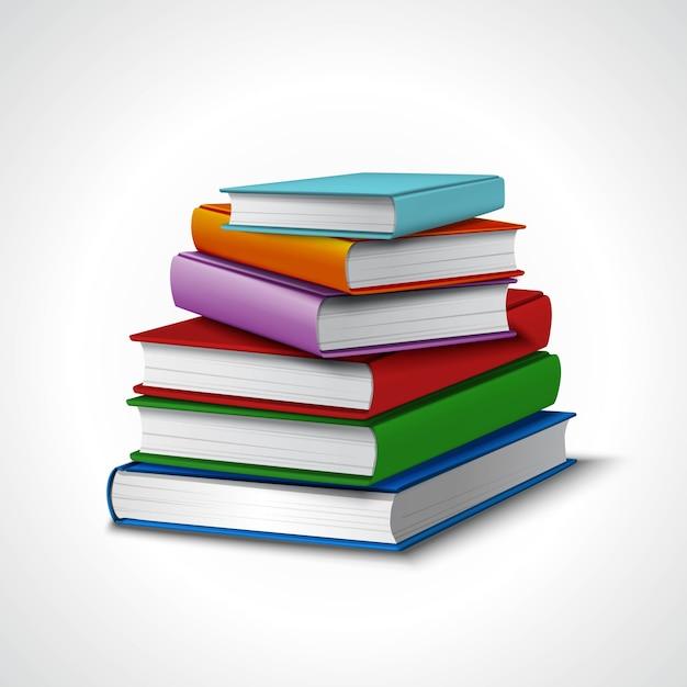 books stack現実的 ベクター画像 無料ダウンロード