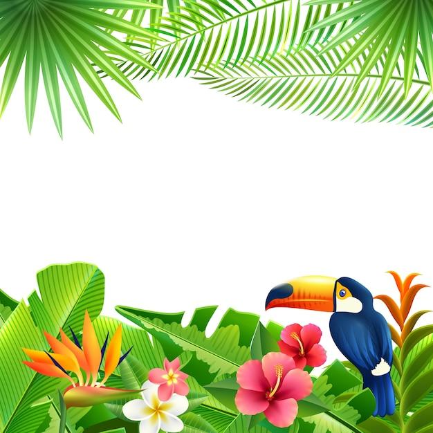 熱帯の風景の背景 無料ベクター