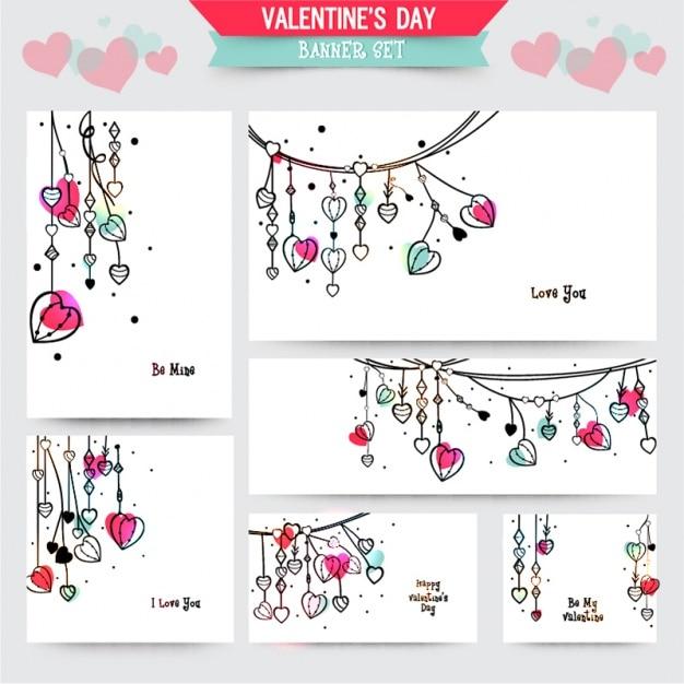 Набор баннеров Валентина с цветными деталями Premium векторы