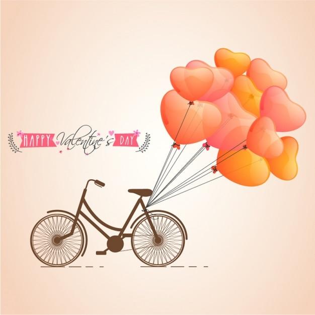 バルーンで自転車のバレンタインデーの背景 Premiumベクター