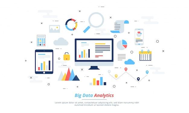ビッグデータ、マシンアロゴリズム、分析概念セキュリティとセキュリティコンセプト。フィンテック(金融技術)の背景。カラフルなフラットイラストスタイル。 Premiumベクター