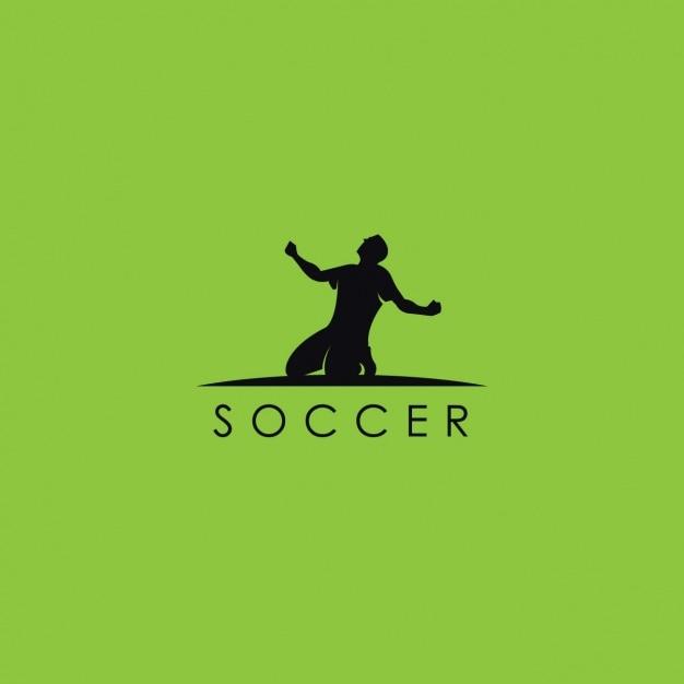 サッカーのロゴ、緑の背景 無料ベクター