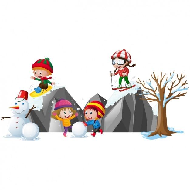 雪の中で遊んキッズ 無料ベクター
