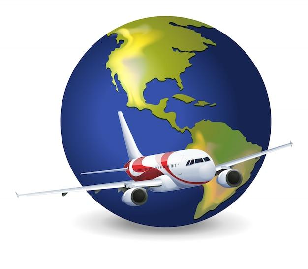 地球の地球と飛行機 無料ベクター