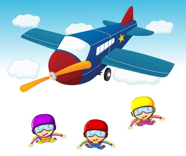 飛行機から飛び降る3人の空のダイバー 無料ベクター
