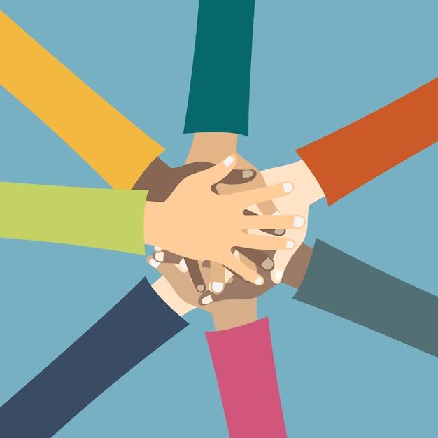 Друзья, демонстрирующие единство и коллективную работу Бесплатные векторы