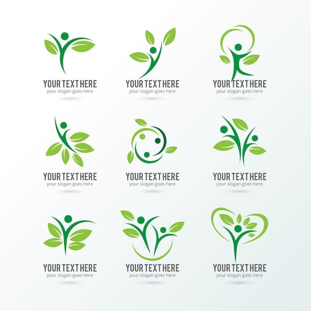 エコロジーのロゴコレクション 無料ベクター