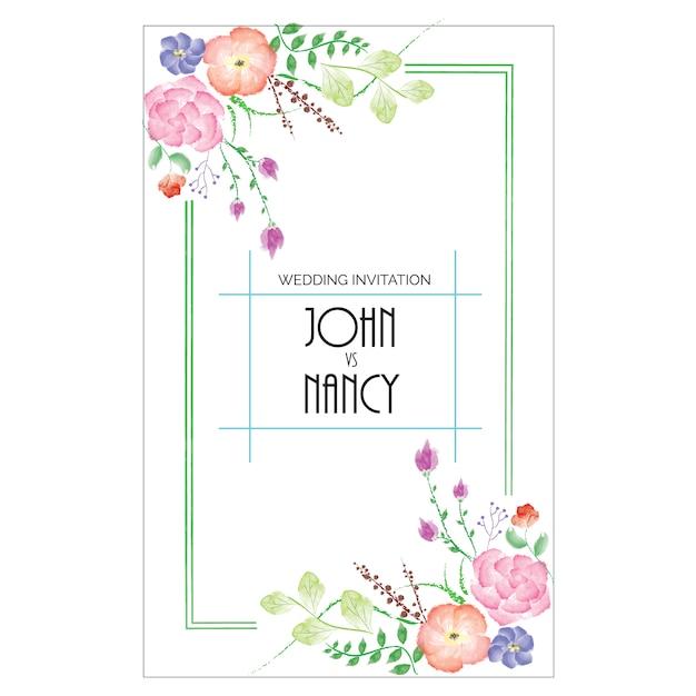 結婚式の招待状のデザイン 無料ベクター