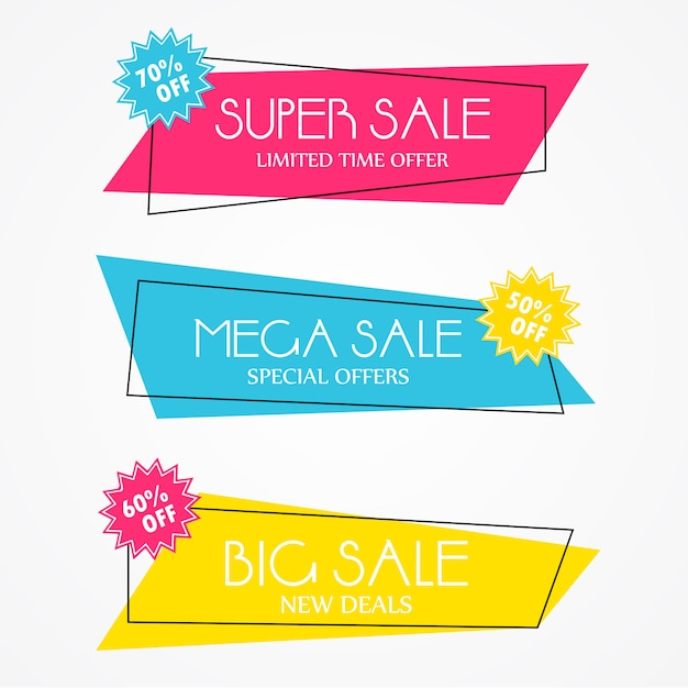 Коллекция значков современной продажи Бесплатные векторы
