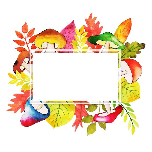 水彩秋の葉のフレーム 無料ベクター