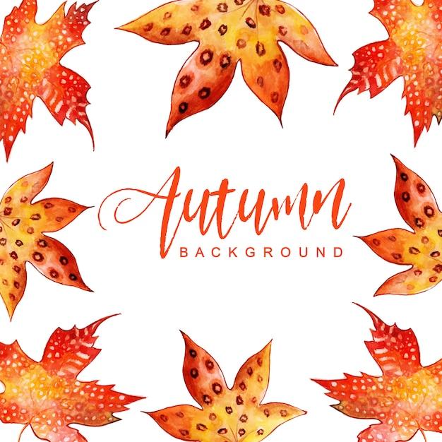 Прекрасный фон из осенних листьев акварели Бесплатные векторы