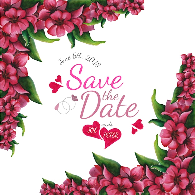 花柄のデザインで日付を保存する 無料ベクター