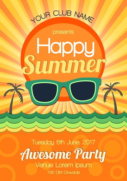 夏のパーティーのポスターデザイン 無料ベクター