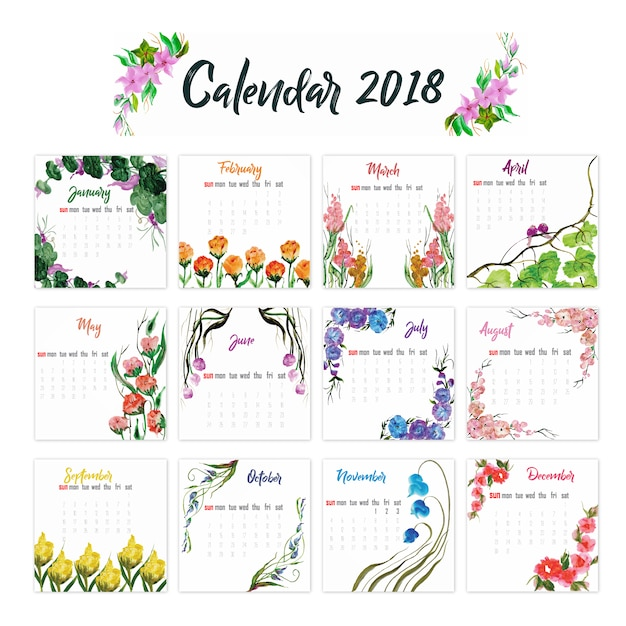 2018カレンダーフローラルデザイン ベクター画像 無料ダウンロード