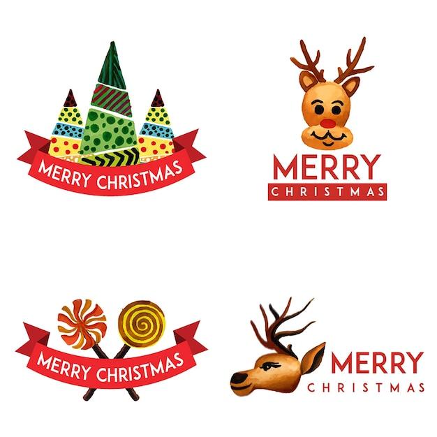 手描きの水彩クリスマスロゴデザイン 無料ベクター