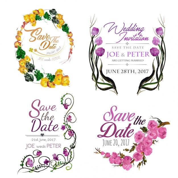 水彩の結婚式招待状のコレクション 無料ベクター