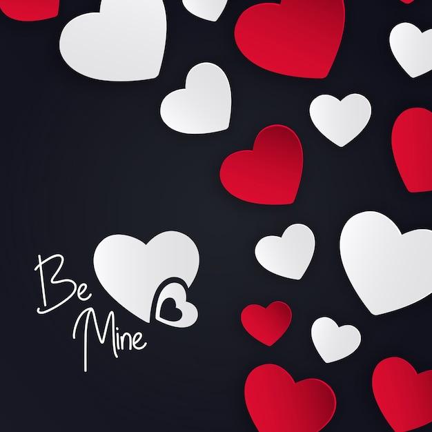 バレンタインハーツの背景 無料ベクター
