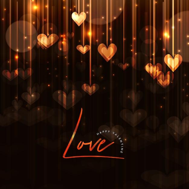 エレガントなバレンタインの背景と照明効果 無料ベクター